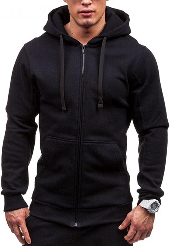 Hoodies for Men Fashion Casual Quick Dry Zip Up Hip-Hop Warm Tops Slim Sweatshirts Outwear Mens Hoodies