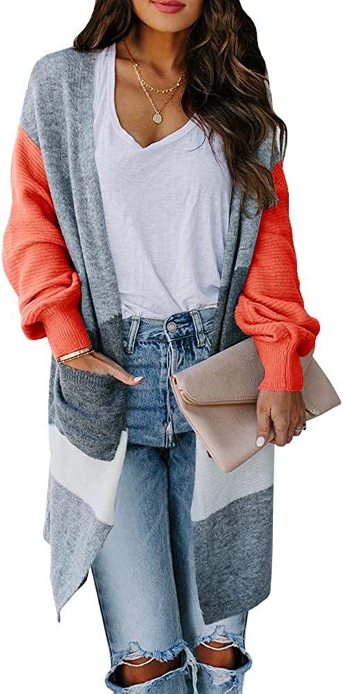 Foshow Womens Boho Long Cardigans Sweater Open Front Color Block Chunky Knit Sweaters Warm Coat with Pockets