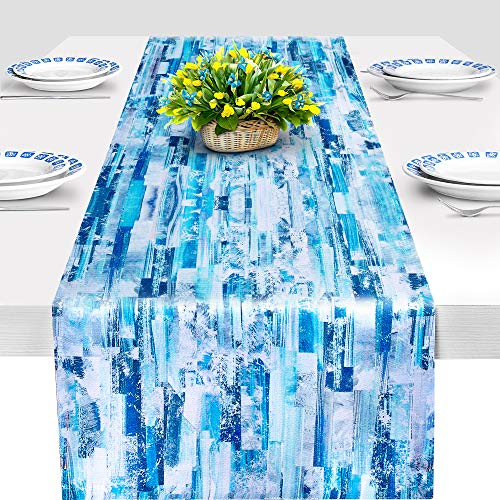 ArtanHome Bright Blue Table Runner - Double-Sided Striped Table Runners for Dining Room Table Decor, 14 x 72 Inch, Non-Wrinkle Washable Cotton Polyester Cloth Optional w/Set of 4 Placemats