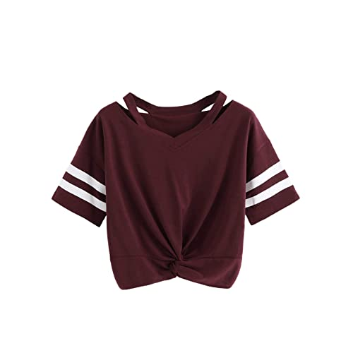 girls Shoes Centre Knot top T-shirt Dance top Burgundy