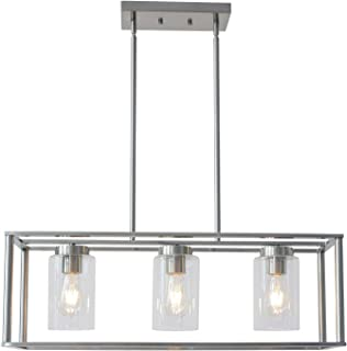 VINLUZ 3-Light Brushed Nickel Chandeliers Contemporary Modern Dining Room Light Fixture Hanging with Clear Glass Shades Farmhouse Cage Linear Pendant Ceiling Light for Bar Kitchen Island