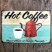 ホットコーヒーヴィンテージスタイルメタルサインアイアン絵画屋内 & 屋外ホームバーコーヒーキッチン壁の装飾 8 × 12 インチ