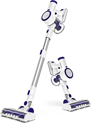 ORFELD Cordless Vacuum, 20000Pa Powerful Suction Stick Vacuum Cleaner, 200W Digital Motor Stick Handheld Vacuum, with Unique Air Outlet HEPA, Suitable for Hard Floor Carpet Hair(White)