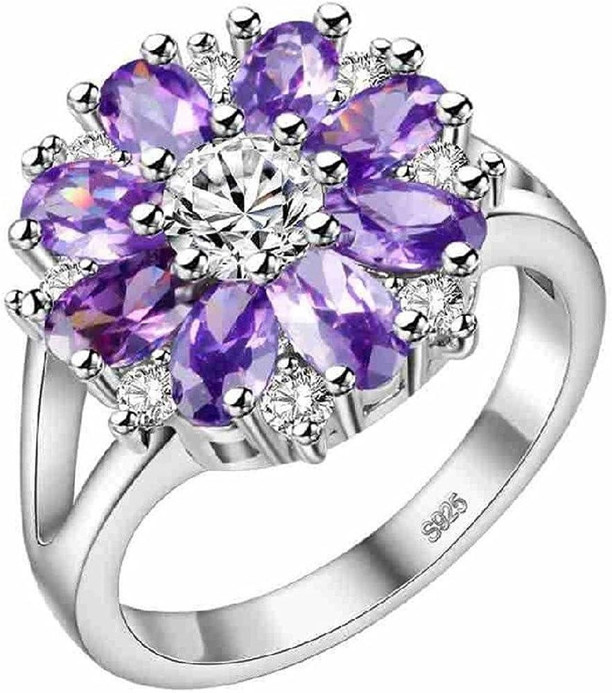 Indefinitely Uloveido Silver Purple Pink CZ Flowers Statement Rings Dedication Women Big
