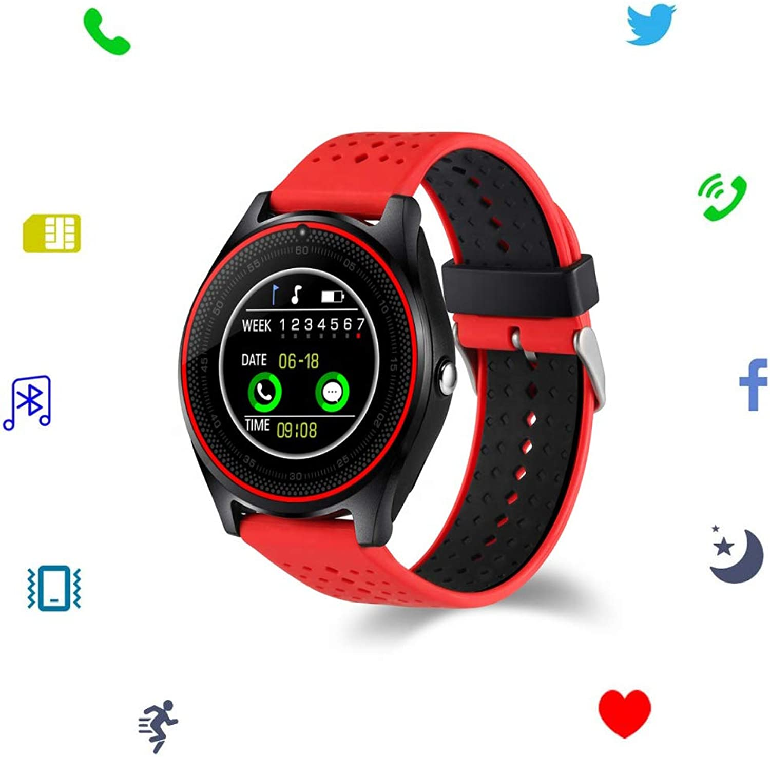 HR Smart Watch with Camera Heart Rate Monitor blueetooth Smartwatch SIM Card Fitness Wristwatch for Android