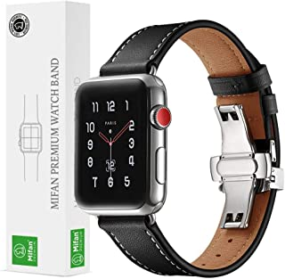 Mifan Official Genuine Leather Band for Apple Watch 44mm/42mm Series 1/2/3/4 Strap Replacement Premium Soft Wristband Bracelet Black with Silver Click Folding Buckle Clasp