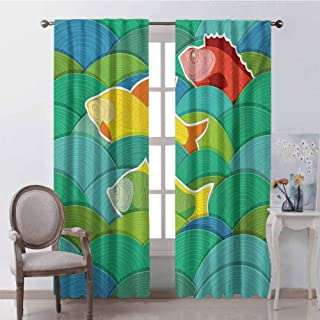 GUUVOR Nautical Shading Insulated Curtain Fishes Swimming in The Sea Waves Funky Stylized Artistic Marine Underwater Graphic Soundproof Shade W100 x L63 Inch Multicolor