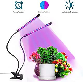Planta Grow Light 20W 60LED Lámpara de cultivo de plantas con temporizador 3H / 6H / 12H Lámpara de planta de doble cabezal para plantas de germinación, plantas de semillero, floración fructificación