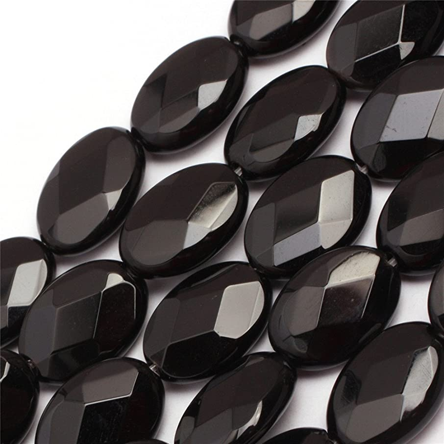 Black Agate Beads for Jewelry Making Natural Semi Precious Gemstone 10x14mm Oval Faceted AAA Grade Strand 15