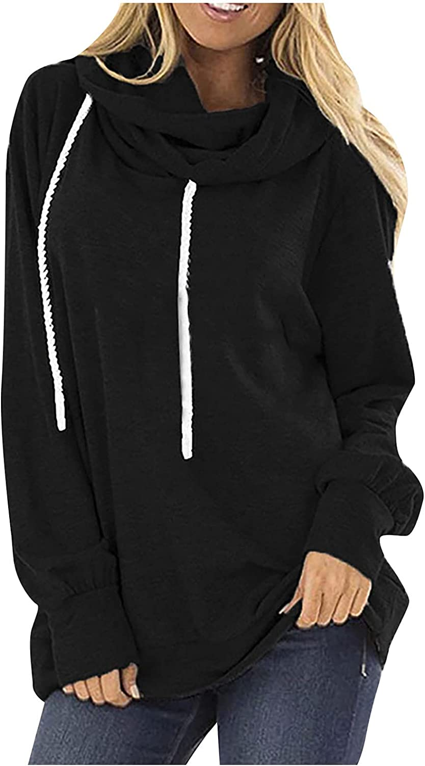 Women's Solid Color Drawstring Turtleneck Hooded Hedging Long Sleeve Loose Fashion Pullover Tops Casual Sweatshirts