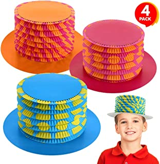 ArtCreativity Accordion Party Hats - Pack of 4 - Expandable and Foldable Birthday Party Hats, Funny Photo Booth Props, Unique Birthday Party Supplies and Favors, Assorted Colors, for Kids and Adults