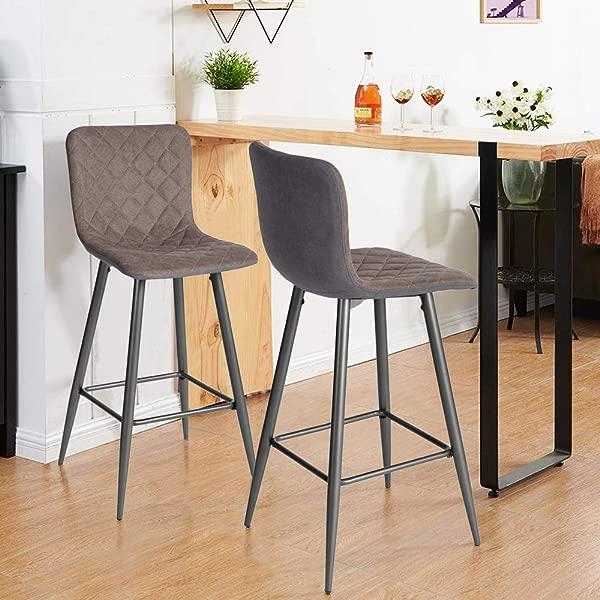 Hody CASA 酒吧凳子一套 2 个厨房靠椅套装,配有柔软的织物坐垫和靠背,用于餐厅深色咖啡