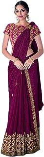 Purple Indian D Crush Silk Eid Designer Sari in Laser Cut Work Pre Stitched Blouse 1 Minute Saree 6331