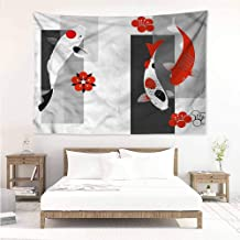 Sunnyhome Wall Tapestry,Koi Fish Modern Minimalist Design,Tapestry for Home Decor,W71x59L