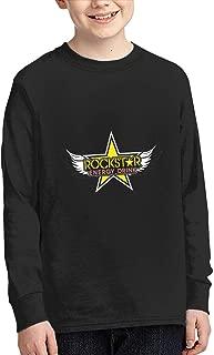 Evmjser Junior Kids Style Rockstar Energy Drink Long Sleeve Round Neck Shirt Tee Black