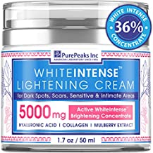 Lightening Cream for Face and Sensitive Skin - Made in USA - Skin Whitening Cream Infused with Potent Natural Alpha Arbutin (Glycosylated Hydroquinone) + Hyaluronic Acid & Collagen 1.7 oz