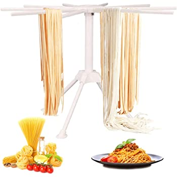 GOZIHA Pasta Drying Rack Noodle Stand with 10 Bar Handles Collapsible | Household Noodle Dryer Rack Hanging for Home Use | Spaghetti Drying Rack Noodle Stand | Easy Storage and Quick Set-Up (White)