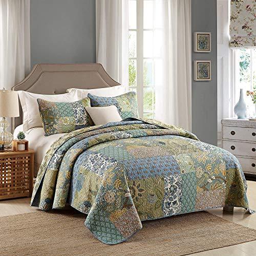 Qucover Patchwork Tagesdecke 230x230cm, Patchworkdecke aus Reiner Baumwolle, Bettüberwurf für Doppelbett, Vintage Sommerdecke, Zweiseitge Decke mit Kissen Set, Gesteppt & Wattiert