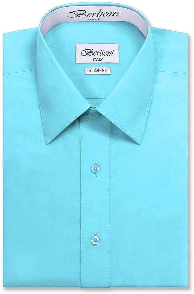 Berlioni Italy Men's Long Sleeve Premium Slim Fit Dress Shirt