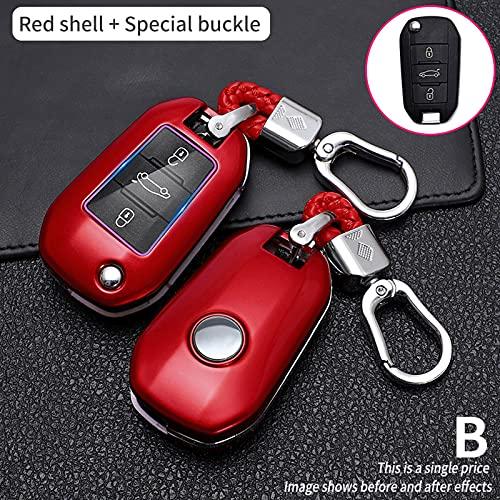 BUQDA ABS Carbon Fibe Car Remote Key Cover Case, para Peugeot 3008, 208, 308, 508, 408, 2008, 307, 4008, Accesorios para Llaves Inteligentes de Coche, Llavero Fob