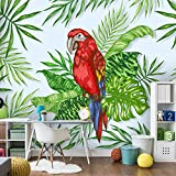 3D Papel Pintado Fotográfico 150(W)X105(H) cm Loro animal de hoja de plátano verde Salón Dormitorio Despacho Pasillo Decoración murales decoración de paredes moderna