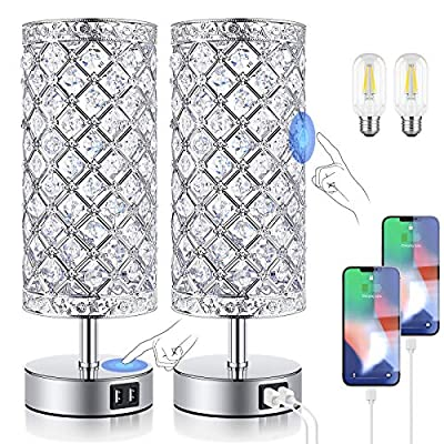 Crystal Table Lamps for bedrooms with Fast Dual USB Ports, 5000K Touch Dimmable Bedside Lamps Set of 2, K9 Crystal Decorative Nightstand Lamps for Girls Guest Room, Living Room, LED Bulbs Included