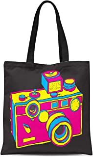 Semtomn Cotton Canvas Tote Bag Hipster Vintage Camera Aged Andy Warhol Antique Button Classic Reusable Shoulder Grocery Shopping Bags Handbag Printed