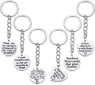 6 Pcs Teacher Appreciation Keychain Geschenke, FineGood Edelstahl Circle und Heart Shaped Dankeschön-Schlüsselanhänger Inspirational Present for Graduation Thanksgiving Day