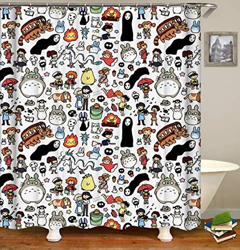 BARTORI Badezimmerdekor Duschvorhang Totoro No Face Man Spirited Away Miyazaki Hayao Cartoon Thema, wasserdichter Polyesterstoff Badvorhang mit 12 Haken 180 x 180 cm
