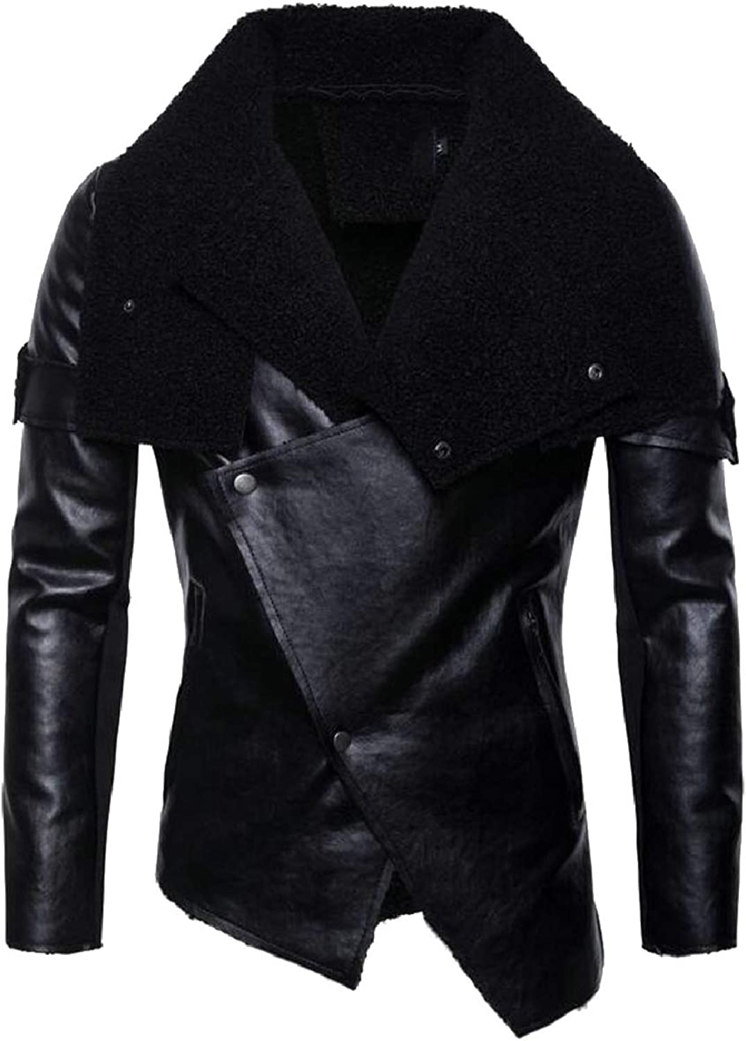 3a1d73a7 LEISHOP Mens Casual Slim Slim Slim Moto Bomber Biker Jacket Faux Leather  Jacket Coat d3ca82