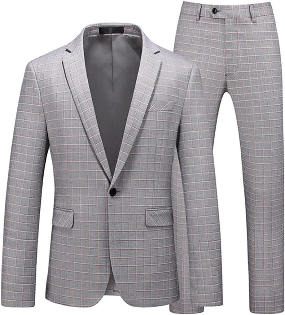 UXZDX CUJUX Plaid Suit Slim Fit Gentleman Wedding Suits Blazers Trousers Men Formal Business Tuxedo Jacket Pants Coats (Color : Gray, Size : L Code)