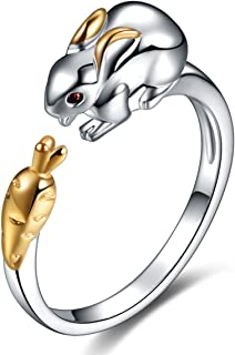925 Sterling Silver Plated Zircon Chinese Zodiac Ring Adjustable Band Gift Women Girl Jewelry