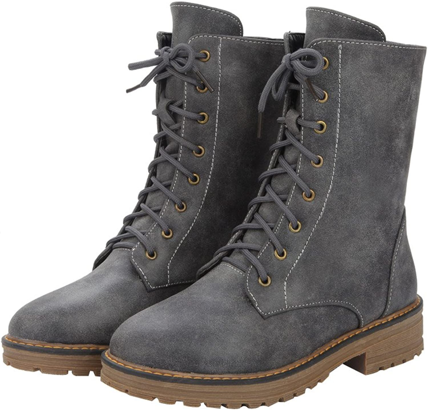 Eclimb Women's Military Combat Lace up Mid Calf High Riding Boots