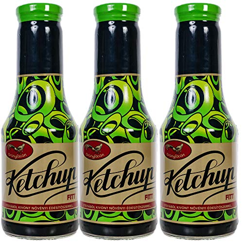Aranyfacan Grillsoße Ketchup zuckerfrei mit Stevia in einer Glasflasche, 3 x 510g | ohne Zusatzstoffe, ohne Zucker | paleo | vegan | glutenfrei | kalorienarm | lactosefrei