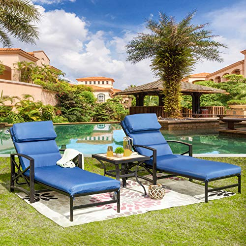 LOKATSE HOME 3 Piece Outdoor Patio Chaise Lounge Arm Adjustable Back and Blue Removable Cushion Bistro Coffee Side Table for Reclining Chairs, Set
