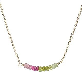 Genuine Watermelon Tourmaline Bar Necklace 16 inches- October Birthstone Gift Idea