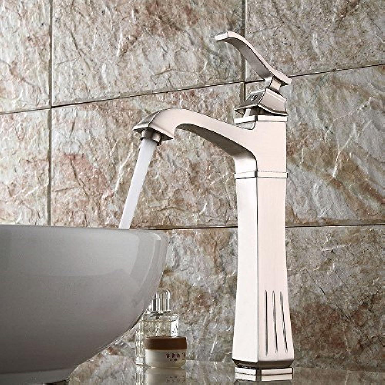 AQMMi Wasserhahn Waschtisch Waschbecken Armatur Gebürstet Warmes Und Kaltes Wasser Retro Quartett 1 Bohrung Badarmatur Waschbeckenarmatur Waschbecken