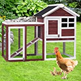 PETSITE Mini Chicken Coop Wooden Rabbit Hutch Outdoor Garden Backyard Hen House Wood Pet House for Small Animals, Poultry Cage with Running Tray (48' L X 24.8' W X 36.2' H)
