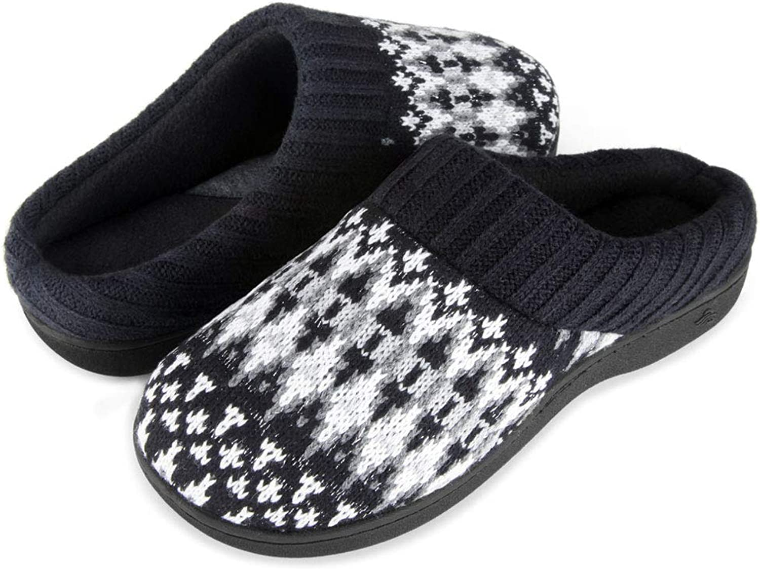 Wishcotton Zigzagger Women's Memory Foam Indoor-Outdoor House Sweater Knit Slippers with Ribbed Hand-Knit Collar,Black,9-10 M US
