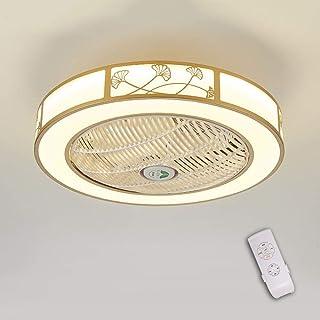 LED invisible ventilador de techo luz, moderna LED Ventilador de techo Lámpara de techo con luz Y mando a distancia ventilador LuzdeTecho-aspas Reversibles Plafones dormitorio Iluminacióndetecho