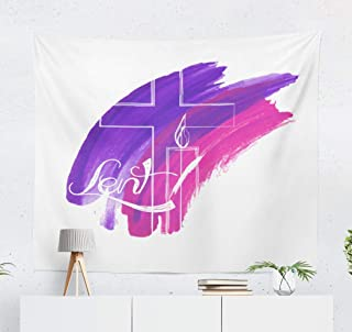 LALILO Abstract Symbols Tapestry, Decorative Tapestry Abstract Religious Symbols Purple Watercolor Cross and Candle Wall Hanging Tapestry for Bedroom Living Kids Room 60 W x 50 L Abstract Symbols