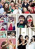 JZK 25 Photo Booth Props mit Rahmen, Brillen Lippen Krawatte Masken Hut Foto Requisiten Foto Accessoires für Hochzeit Geburtstag Taufe Babyparty Weihnachten Neujahr - 8