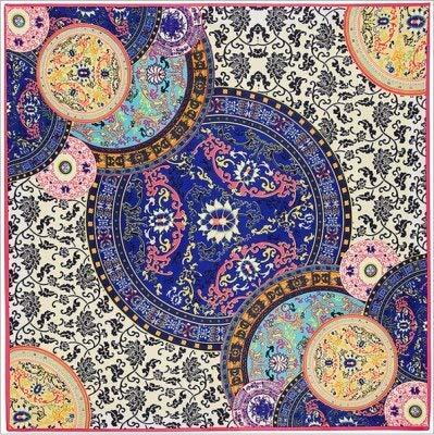 YDMZMS 100% Zijde Sjaal Vrouwen Blauw En Wit Bloemen Print Vierkante Sjaals Grote Sjaal Femme Sjaal Lady Foulards Bandana donkerblauw