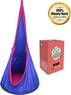 Gamenote Kids Pod Swing Hammock Hanging Chair with Pocket & Safety Handle - Cotton Child Hanging Nest Seat for Indoor and Outdoor (All Accessories Include)