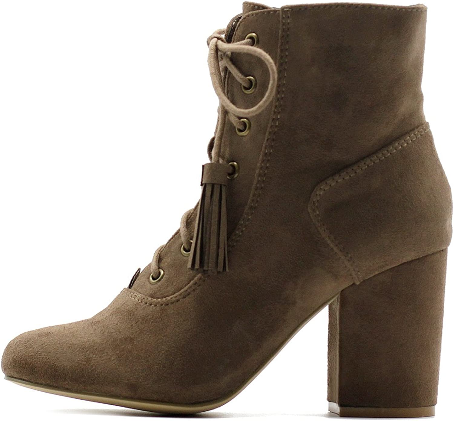 Ollio Women's shoes Faux Suede Tessle Lace Up Stacked High Heel Ankle Boots
