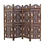 COTTON CRAFT Rajasthan- Antique Brown 4 Panel Handcrafted Wood Room Divider Screen 72x80, Intricately Carved on Both Sides - Reversible- Hides Clutter, Adds Décor, Divides The Room (Brown)