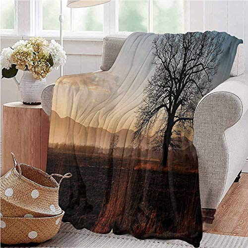Manta de franela con diseño de árbol, color verde y marrón, Franela, Patrón_03, Twin 60'x80'