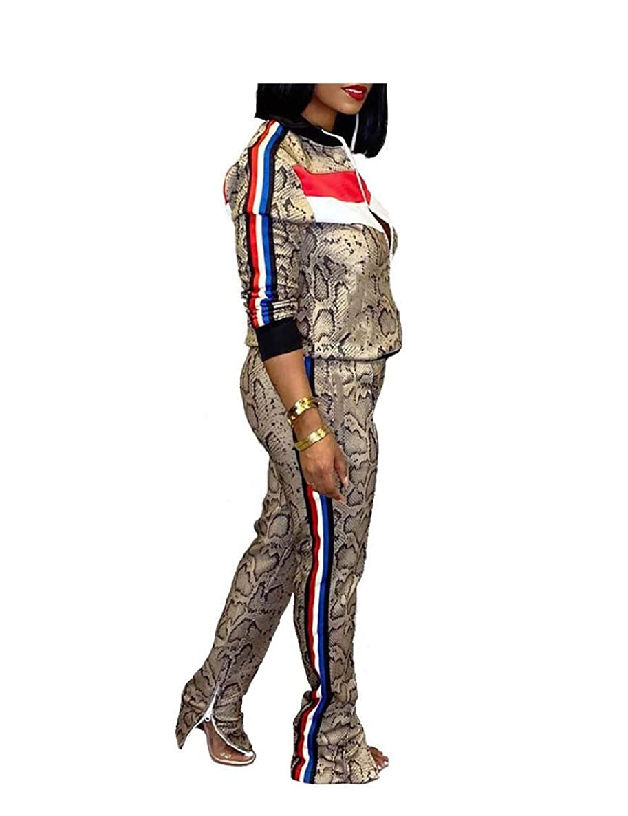 ホームラグウェイドWomens Patterned Active Long Sleeve 2pcs Set Strip Tracksuit Outfit