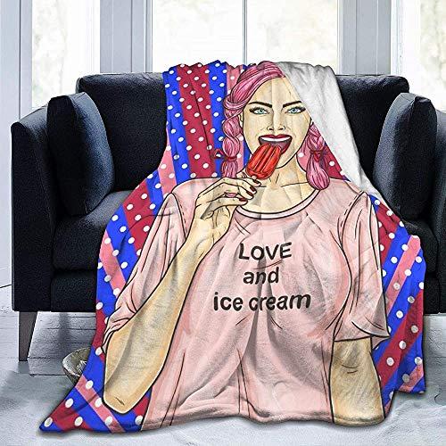 Duanrest Decken Pop Art Pin Up junges sexy Mädchen Essen Eskimo Pie Bettdecke und Würfe