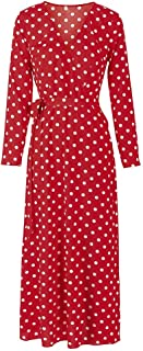 QGTDRESS Summer V-Neck Sexy Split Wave Point Dress, Size: S(White Short Sleeve) (Color : Red Long Sleeve)